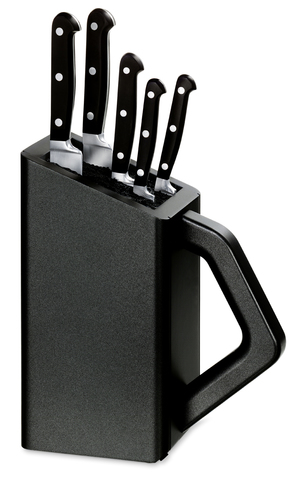 Набор Victorinox кухонный, 5 предметов, в подставке, черный MV-5.1176.53
