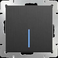 Выключатель одноклавишный проходной с подсветкой (графит рифленый) WL04-SW-1G-2W-LED Werkel