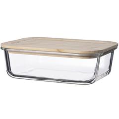 Контейнер для еды Smart Solutions стеклянный 1520 мл с крышкой из бамбука LB1520RC