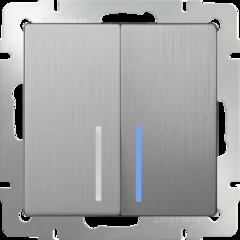 Выключатель двухклавишный проходной с подсветкой (cеребряный рифленый) WL09-SW-2G-2W-LED Werkel