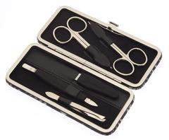 Маникюрный набор GD, 5 предметов, кожаный футляр, цвет серый, рептилия 1517SN-2