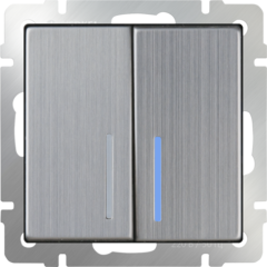 Выключатель двухклавишный проходной с подсветкой (глянцевый никель) WL02-SW-2G-2W-LED Werkel