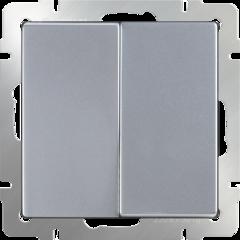Выключатель двухклавишный проходной (серебряный) WL06-SW-2G-2W Werkel