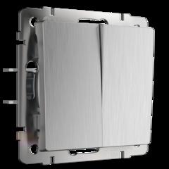 Выключатель двухклавишный проходной (cеребряный рифленый) WL09-SW-2G-2W Werkel