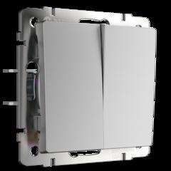 Выключатель двухклавишный (серебряный) WL06-SW-2G Werkel