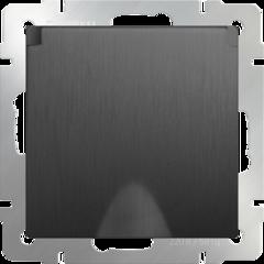 Розетка влагозащ. с зазем. с защит. крышкой и шторками (графит рифленый) WL04-SKGSC-01-IP44 Werkel