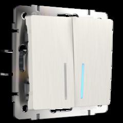 Выключатель двухклавишный с подсветкой (перламутровый рифленый) WL13-SW-2G-LED Werkel