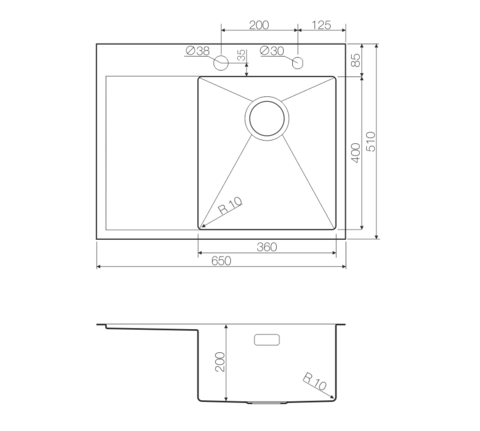 Кухонная мойка из нержавеющей стали OMOIKIRI Kirisame 65-IN-R (4993059)