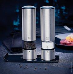 Набор мельниц Peugeot Duo Sense Elis для соли и перца электрические на батарейках нержавеющая сталь матовая, 20 см, с подставкой Alpha 2/27162