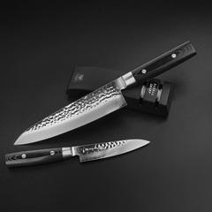 Набор из 2 кухонных ножей (37 слоев) YAXELL Zen и точилки арт. YA35500-003