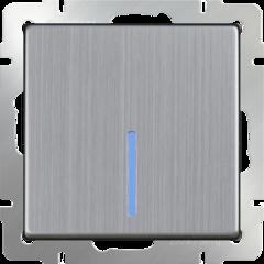 Выключатель одноклавишный проходной с подсветкой (глянцевый никель) WL02-SW-1G-2W-LED Werkel