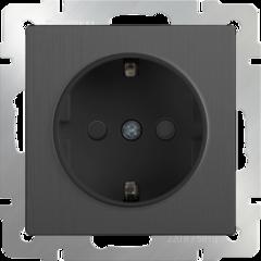 Розетка с заземлением и шторками (графит рифленый) WL04-SKGS-01-IP44 Werkel