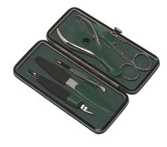 Маникюрный набор GD, 5 предметов, цвет зеленый, кожаный футляр 1552GRN-3