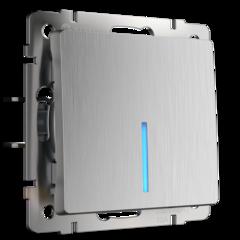 Выключатель одноклавишный проходной с подсветкой (cеребряный рифленый) WL09-SW-1G-2W-LED Werkel