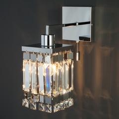 Настенный светильник с хрусталем Eurosvet Barra 10100/1 хром/прозрачный хрусталь Strotskis