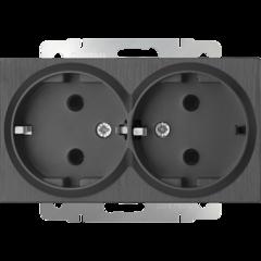 Розетка двойная с заземлением (графит рифленый) WL04-SKG-02-IP20 Werkel
