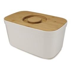 Хлебница пластиковая с разделочной доской из бамбука белая Joseph Joseph 81097