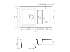 Кухонная мойка из искусственного гранита (Tetogranit) OMOIKIRI Sakaime 78-2-BL (4993114)