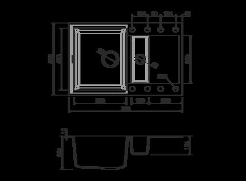 Кухонная мойка из искусственного гранита (Tetogranit) OMOIKIRI Sakaime 78-2-DC (4993198)