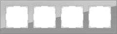 Рамка на 4 поста (серый,стекло) WL01-Frame-04 Werkel