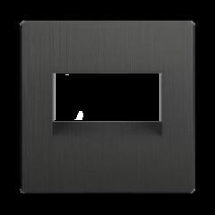 Накладка для двойной розетки Еthernet RJ-45 (графит рифленый) WL04-RJ45+RJ45-CP Werkel