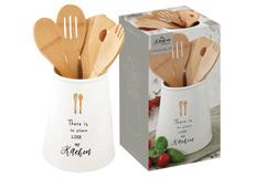 Банка-подставка с кух.инструментами (5 инстр.из бамбука) Kitchen Elements в подарочной упаковке Easy Life AL-56209
