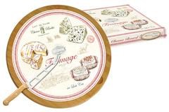Блюдо д/сыра (вращающееся) бамбук/стекло + нож FROMAGE в подарочной упаковке. Easy Life AL-56999