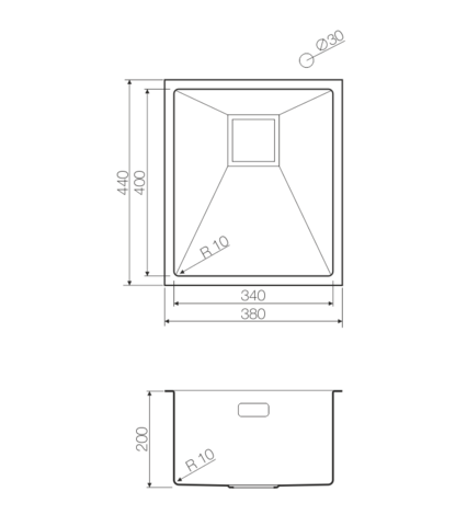 Кухонная мойка из нержавеющей стали OMOIKIRI Akisame 38-U-GM (4993106)