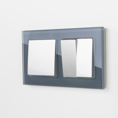 Рамка на 2 поста (серый,стекло) WL01-Frame-02 Werkel