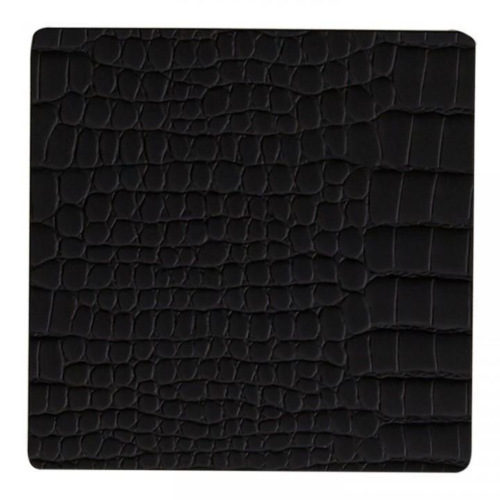 Подстаканник квадратный 10x10 см LindDNA Croco black 9898