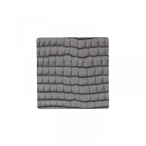 Подстаканник квадратный 10x10 см LindDNA Croco silver-black 9899