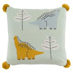 Подушка декоративная с помпонами с принтом Динозавр Toto из коллекции Tiny world 35х35 см Tkano TK20-KIDS-CU0005