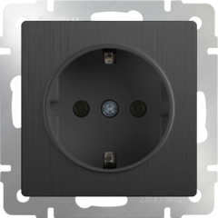 Розетка с заземлением (графит рифленый) WL04-SKG-01-IP20 Werkel