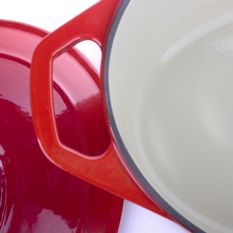 Кастрюля с крышкой чугунная 29 см (4,5л), с эмалированным покрытием, овальная, CHASSEUR Rubin (цвет: алый) арт. 372908