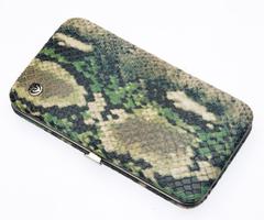 Маникюрный набор GD, 7 предметов, кожаный футляр, цвет зеленый, рептилия 1543SN-3