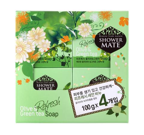 Мыло косметическое Shower Mate Оливки и зеленый чай 4*100г (набор) 870105