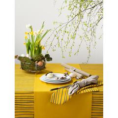 Салфетка сервировочная из хлопка горчичного цвета с принтом Полоски из коллекции Prairie, 45х45 см Tkano TK20-NA0008