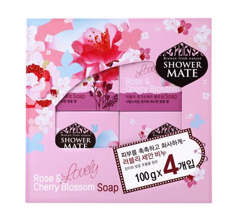 Мыло косметическое Shower Mate Роза и вишневый цвет 4*100г (набор) 870112