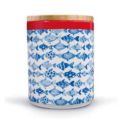 Банка фарфоровая с бамбуковой крышкой Fish Remember pdb08