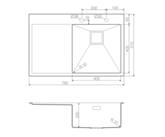 Кухонная мойка из нержавеющей стали OMOIKIRI Akisame 78-GM-R (4993100)