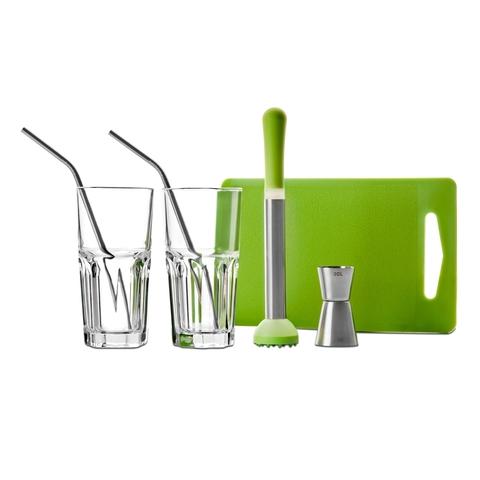 Набор для приготовления коктейля ( 2 стакана+2 трубочки +пресс для мохито+раздел. доска+джиггер) IBILI Clasica арт. 798000