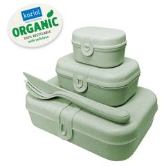 Набор из 3 ланч-боксов и столовых приборов PASCAL Organic зеленый Koziol 3168668