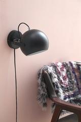 Лампа настенная Ball с подвесом, черная матовая, черный шнур Frandsen 43546505001