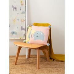 Подушка декоративная с помпонами Слоник Lou из коллекции Tiny world 35х35 см Tkano TK20-KIDS-CU0001
