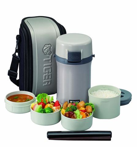 Термос для еды с контейнерами Tiger LWU-F200 (0,61л, 2x0,3л, 0,27л) серебряный + чехол