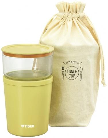 Термос для еды с контейнерами Tiger LCC-A030 (0,32л + 0,25л) желтый + чехол
