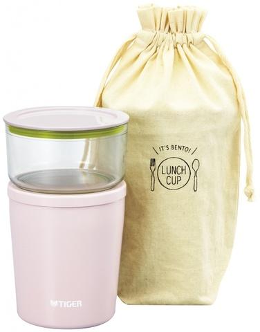 Термос для еды с контейнерами Tiger LCC-A030 (0,3л + 0,25л) розовый + чехол
