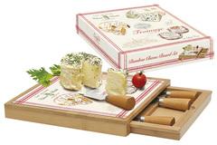 Набор д/сыра: доска, выдвижной ящик с 4-мя ножами, бамбук/стекло FROMAGE в подарочной упаковке Easy Life AL-57001