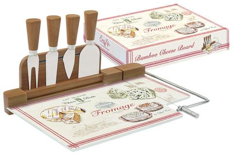 Набор д/сыра: разделочная доска (стекло) + 4 ножа FROMAGE в подарочной упаковке Easy Life AL-56935