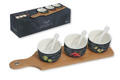 Набор для закуски: 3 чаши (8см) с ложками, поднос Easy Life AL-46681